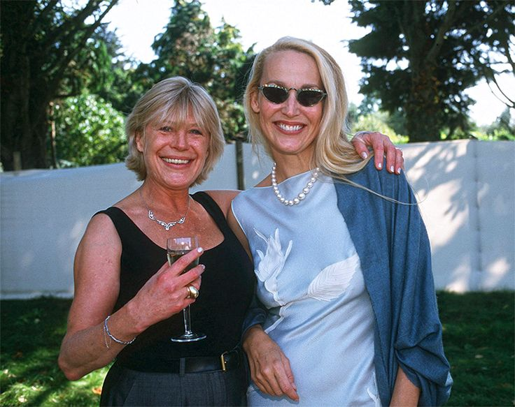 Marianne Faithfull and Jerry Hall at Angela Richards' (daughter of Keith Richards) wedding, 1998