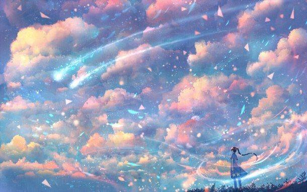 anime, girl, scenery, sky, stars, wind