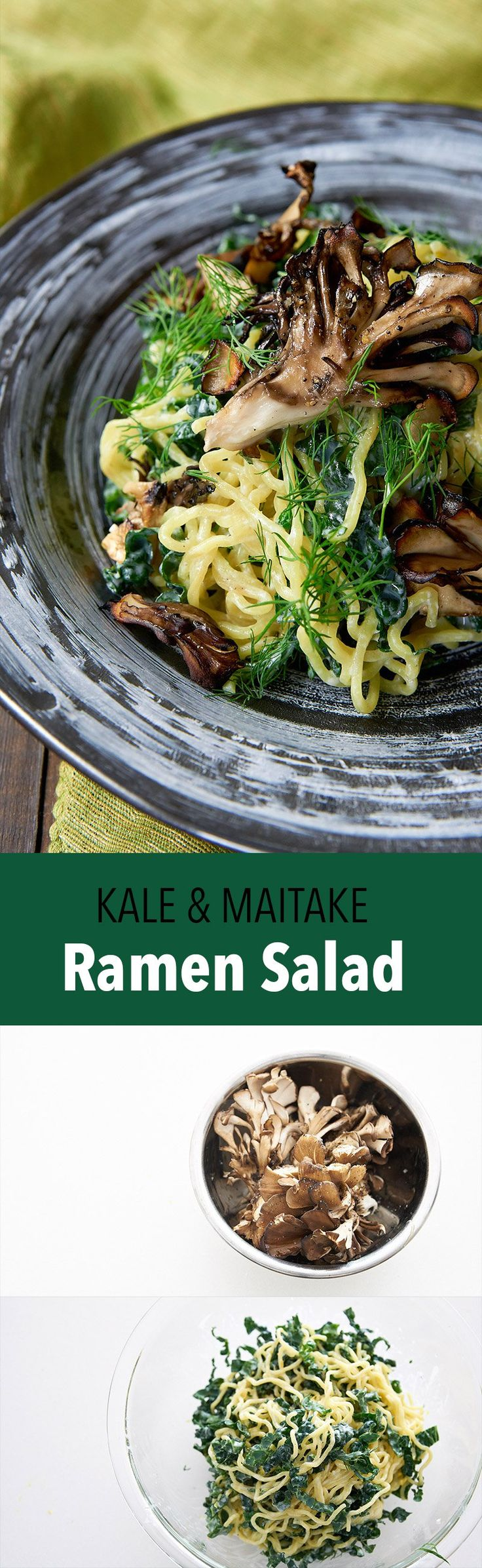 This delicious ramen salad is loaded with kale, dill, and crispy maitake mushrooms tossed with a creamy garlic lemon and yogurt dressing.