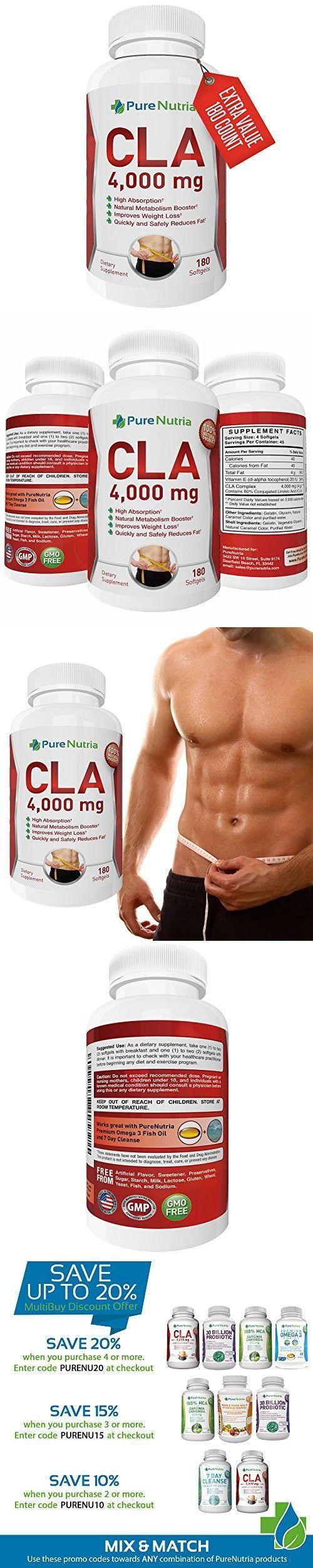PureNutria Fat Burner CLA 4000mg Supplement for Weight Loss - Conjugated Linoleic Acid Softgels - Build Lean Muscle and Burn Belly Fat Fast (180 Softgels) #bellyfatburnersupplement