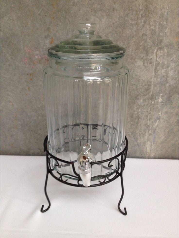 Drink Dispenser Round on Black Iron Stand 5.7L