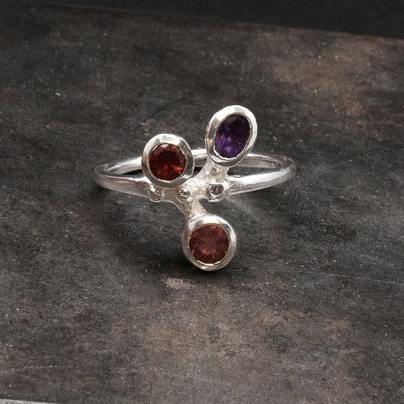 Gemstone Sterling Silver Ring Multi stone Ring by SunSanJewelry