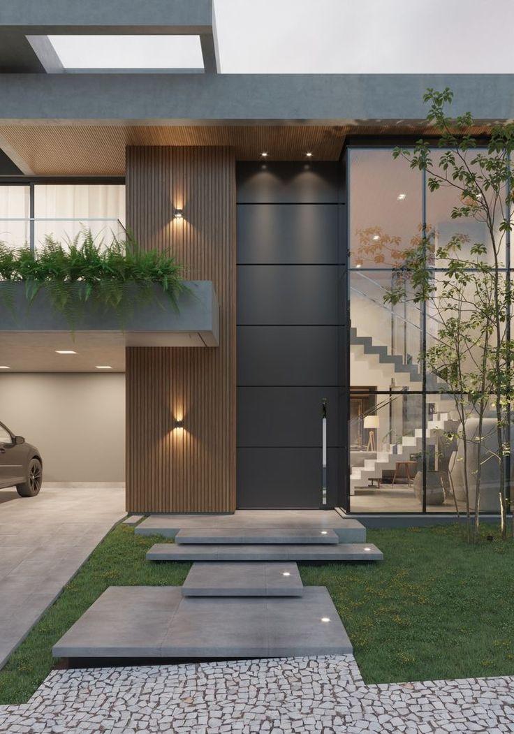 Modern House Facades, Modern Exterior House Designs, Dream House Exterior, Modern Architecture House, Modern House Design, Exterior Design, House Front Design, Luxury Homes Dream Houses, Villa Design