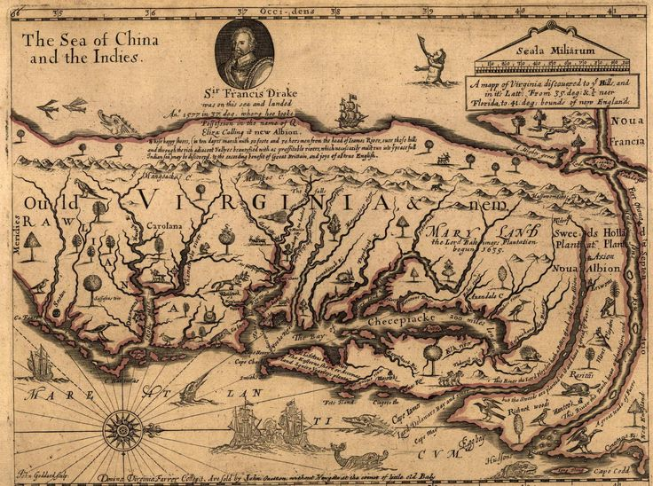 1651 Map of Virginia Colony Antique map, Virginia