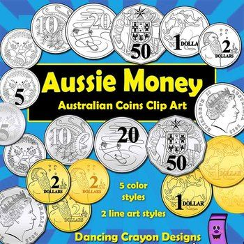 Australian Coins - clip art set. Includes both color and black and white line art. Great for creating math-related teaching resources. $