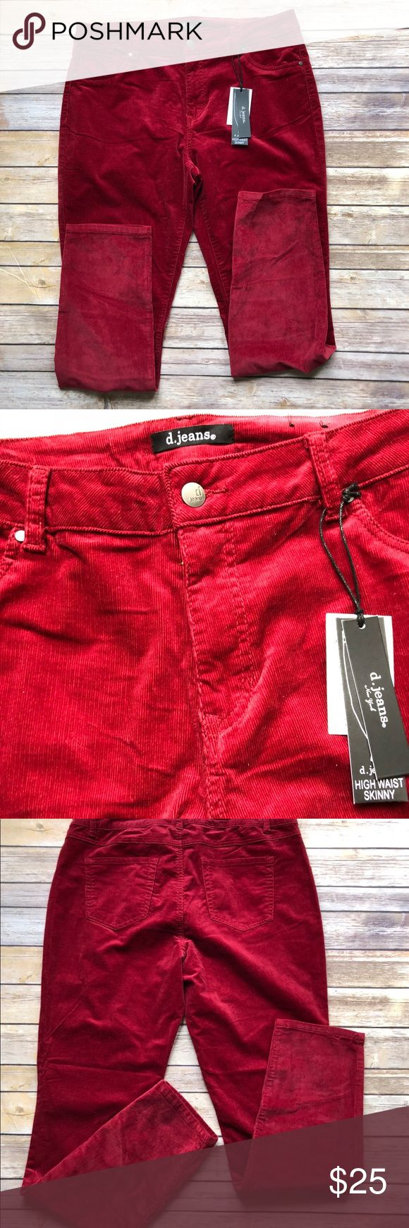 """Red Cranberry Jean Pants Soft and stretchy with an awesome color, NWT  Cotton and spandex L42"""" laid flat W 18"""" laid flat Thigh 12"""" laid flat Ins 31"""" laid flat Cuff 6"""" Rise app 11"""" laid flat d.jeans Pants Skinny"""