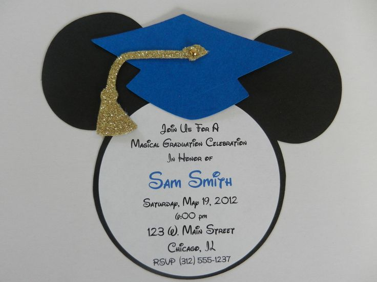 Mickey Mouse Inspired Graduation Invitations – Royal Blue and Gold Glitter Tassel. $22.50, via