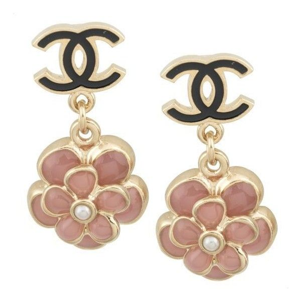Chanel Camellia Earrings (970 HKD) found on Polyvore featuring jewelry, earrings, accessories, chanel, orecchini, kohl jewelry, white pearl earrings, black flower earrings, pearl jewelry and chanel jewellery