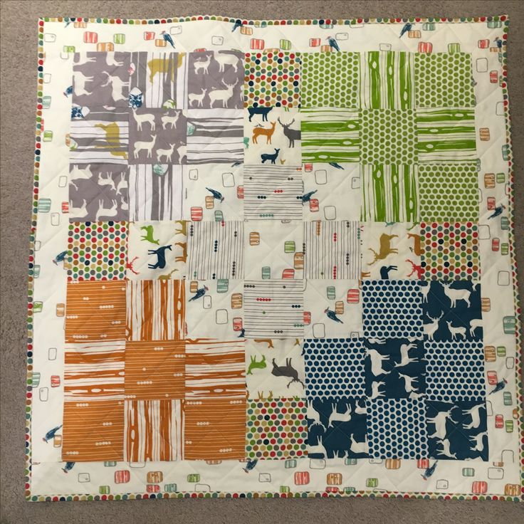 Baby boys quilt for Archie, a mix of Birch fabrics