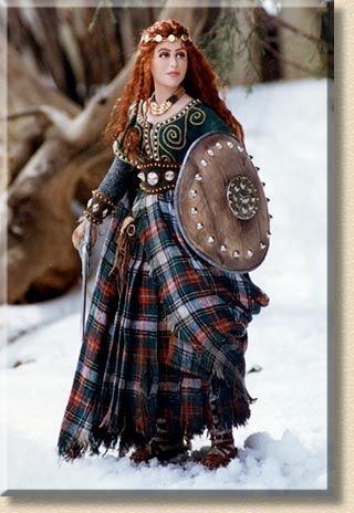 Wendelin Red-haired Celtic warrior maiden, stands with sword and shield ready to defend her people.  - by Martha & Marianne