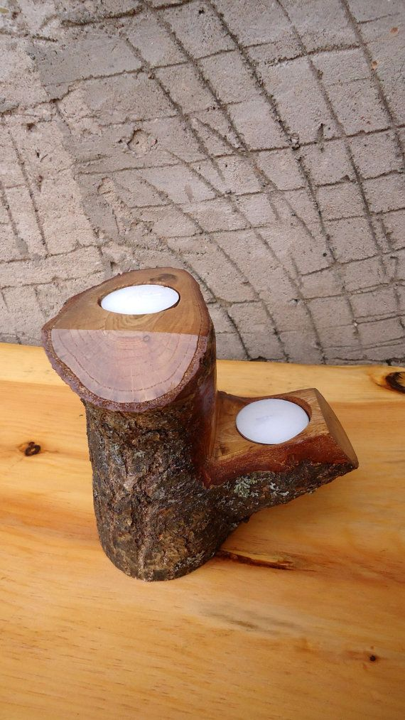 Portavelas rústico de madera Portavelas de madera por latwoodyworld