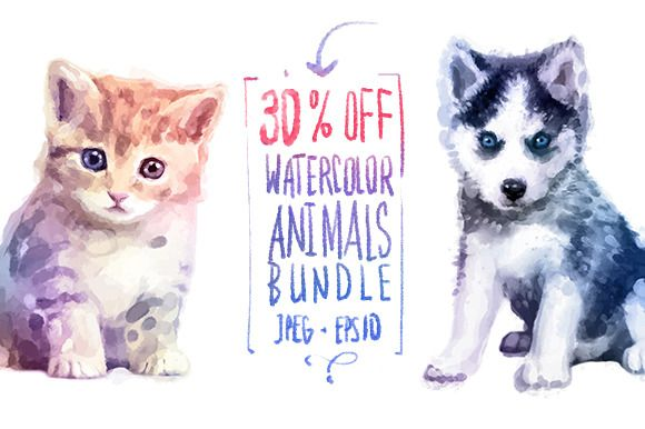 30 off! Watercolor cute animals  by Krol on @creativemarket