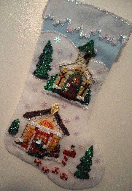 Bucilla Felt 18 finished Stocking Christmas Village
