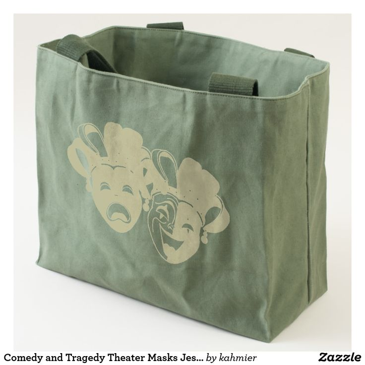 Comedy and Tragedy Theater Masks Jester Tote Sale 15% off #leatherwooddesign #zazzle