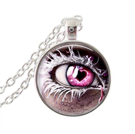 Горячие продажи Розовые розы ожерелье человеческий глаз ожерелье красные глаза ожерелье стеклянный купол ожерелье женщины колье серебро neckalce подарок