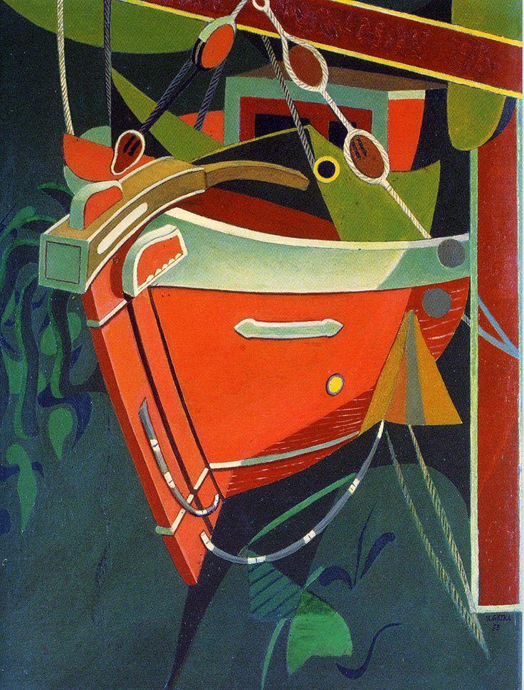 Christmas Card - Boat - ATHENS – BENAKI MUSEUM, N. HADJIKYRIAKOS - GHIKA. BOAT. OIL ON CANVAS (1934-35). Text card: blank