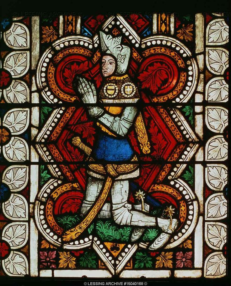 MEDIEVAL STAINED GLASS WINDOW 14TH CENTURY   A praying knight in armour. Stained glass window   Castle Armory, Kreuzenstein, Austria