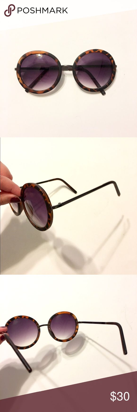 Tortoise Colored Sunglasses Hippy round sunglasses only worn a few times, still in good condition!! Accessories Sunglasses