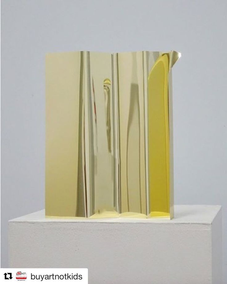 """Get your tickets for the @buyartnotkids #artauction on November 1 with @waddingtons275 and @stephenranger. #repost  'Share' by @michaeljohnvickers  is lot #8 in the #BuyArtNotKids art auction.  Gold chromed aluminum Unique 1/1  15"""" x 12"""" x 2  Vacillating between painting sculpture and installation Michael Vickers modulating forms develop an autonomous and distinctive visual language. Insistently remodeled industrial sheets of metal folded fabric and molded plexiglas morph into artworks as…"""