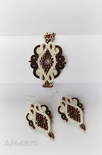 Komplet biżuterii w kolorach brązu i kremu wykonany metodą haftu SUTACHE