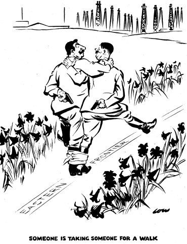 This cartoon by the British cartoonist David Low was published in the Evening Standard newspaper on 21 October 1939. Having destroyed Poland, Hitler and Stalin stroll down their now-shared frontier.