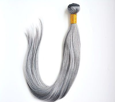 1Bundle Silver Gray Brazilian Real Remy Straight Human Hair Extensions Weft 100g