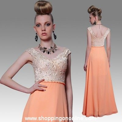 Orange Prom Dress - Cap Sleeves Rose $143.20 (was $179) Click here to see more details http://shoppingononline.com/prom-dresses/orange-prom-dress-cap-sleeves-rose.html #OrangePromDress #PromDressWithSleeves #CapSleeveDress #OrangeDress #Orange #PromDresses