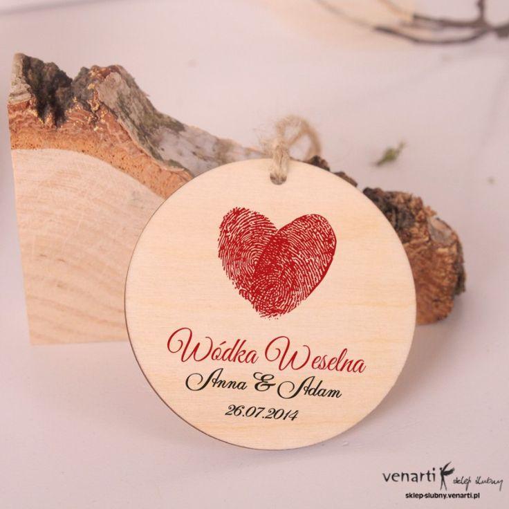 Serce z odcisków - Ślubne, drewniane zawieszki