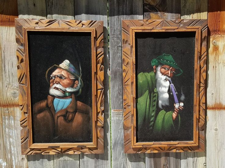 Vintage SET of 2 BLACK VELVET PAINTING ~ Tyrolean Hipster BEARD MEN Smoking PIPE #OutsiderArt #blackvelvet #painting #black #velvet #pipe #Smoking #tyrol #man #hipster #beard