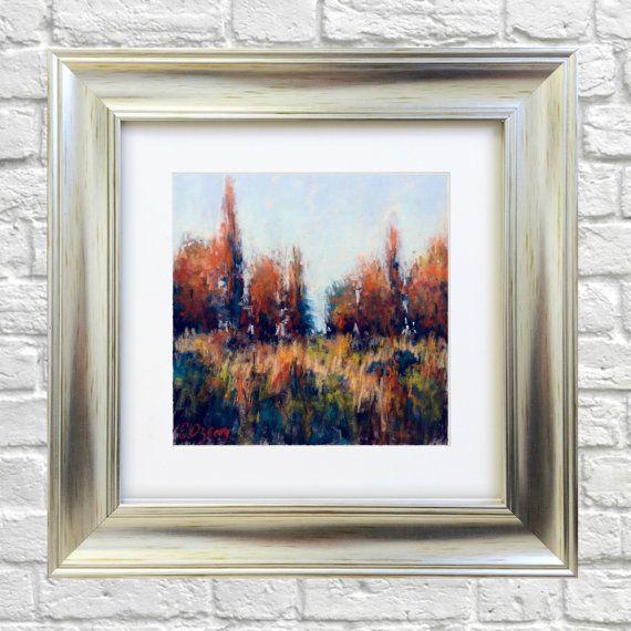 Original Pastel Painting Dreamy Landscape by Bluishpurpletrees