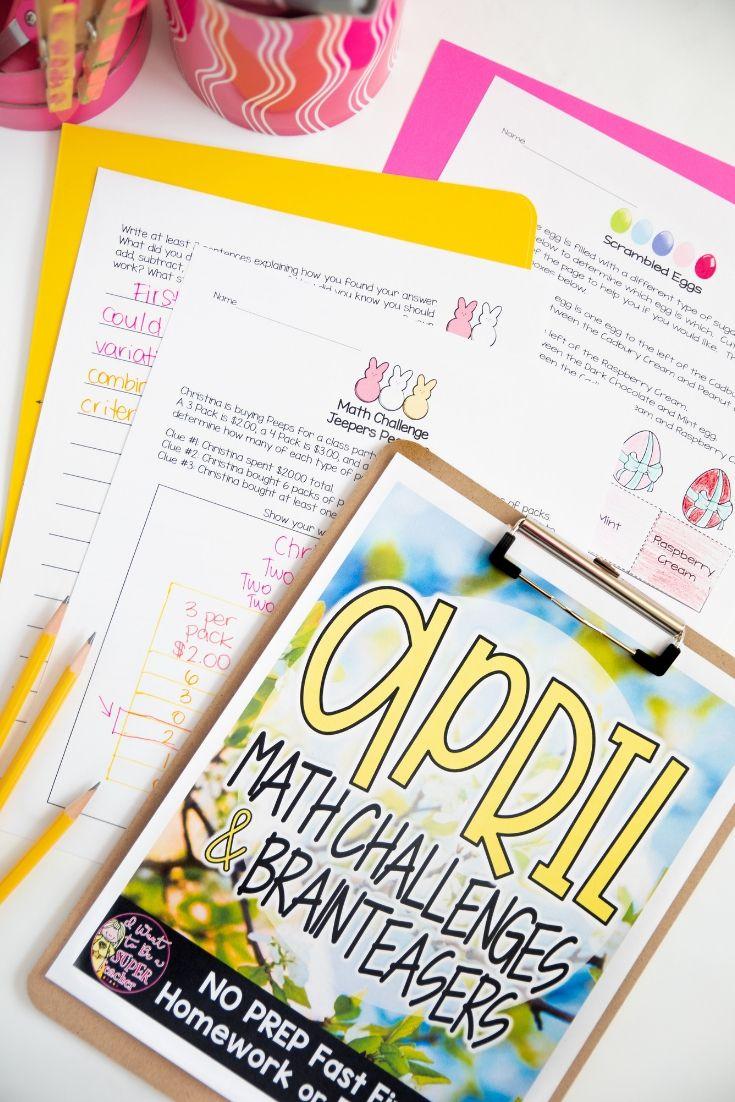 April Math Challenge Worksheets 2nd 3rd Grade Spring Math Worksheets Spring Math Activities Easter Math Activities [ 1102 x 735 Pixel ]