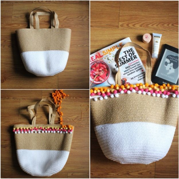 como fazer uma bolsa de praia estilosa com pom pom