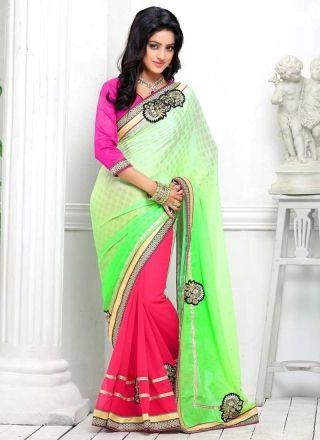 Deepika Singh Pink And Perrot Green Half N Half Party Wear Saree
