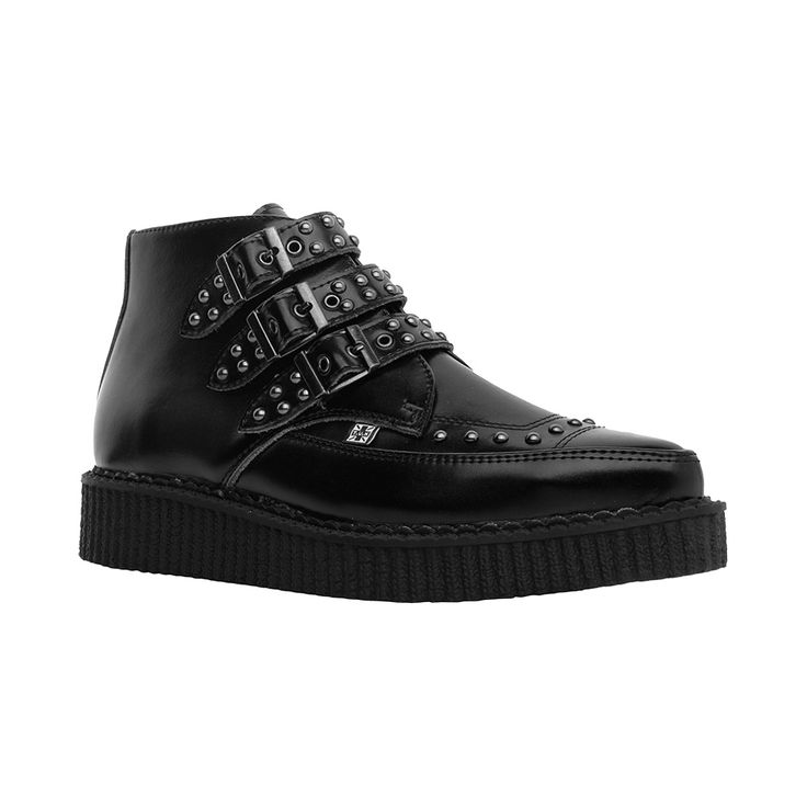 T.U.K. Pointed Toe Buckle Studs Creeper Boot - Black - 561101
