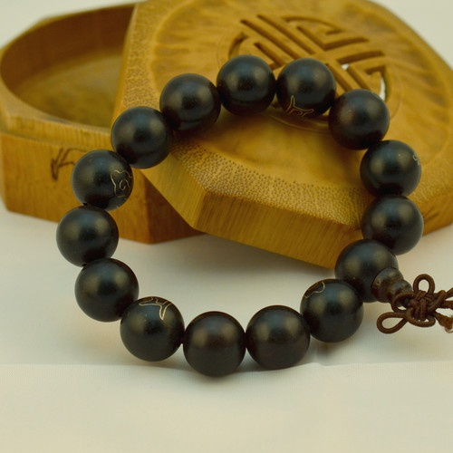 Nakali Buddhist Jewelry Ebony Blackwood Prayer Bead Bracelet Black Chinese New