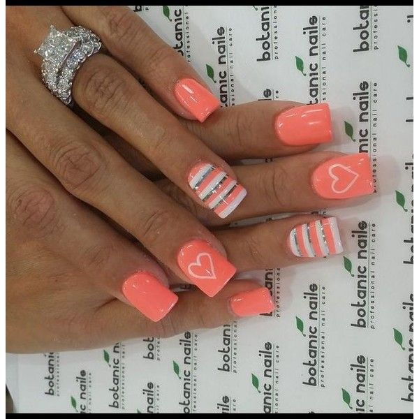 70+ Heart Nail Designs ❤ liked on Polyvore featuring nails