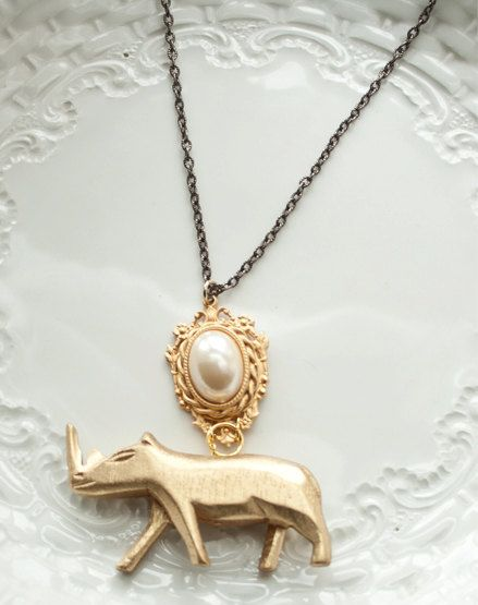 Rhino Necklace by LoveIsola on Etsy
