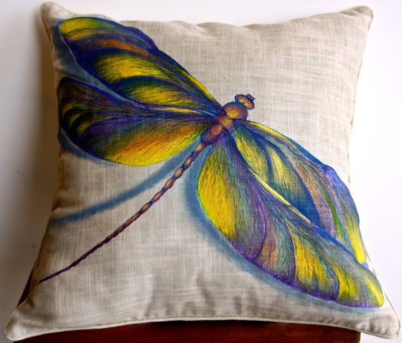 Dragonfly hand painted pillow por HoofsNWoofsArt en Etsy, $75.00
