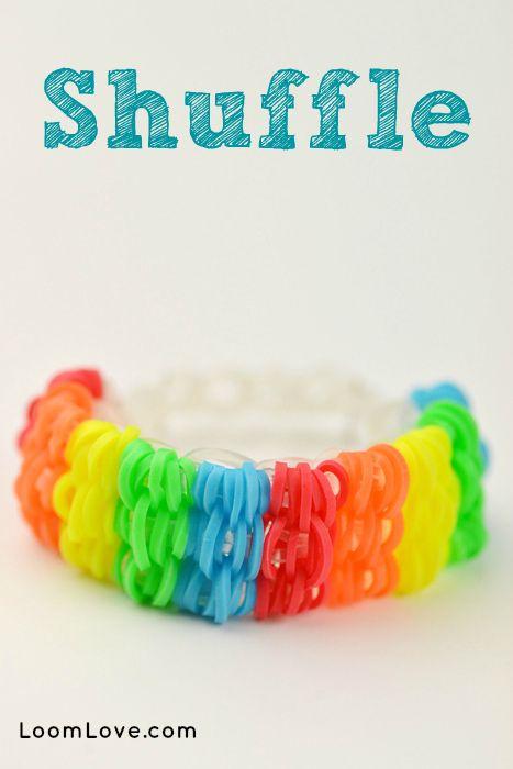 How to make a Rainbow Loom Shuffle Bracelet - Machines et élastiques : http://www.creactivites.com/268-elastiques-loom