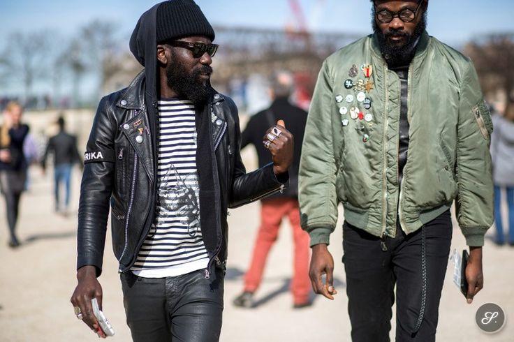 Sam Lambert & Shaka Maidoh on a street style photo taken during Paris Fashion Week.