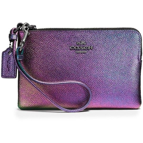 COACH Iridescent Leather Corner-Zip Leather Wristlet ($67) ❤ liked on Polyvore featuring bags, handbags, clutches, apparel & accessories, purple, coach wristlet, coach purses, leather clutches, leather zipper pouch and purple leather purse