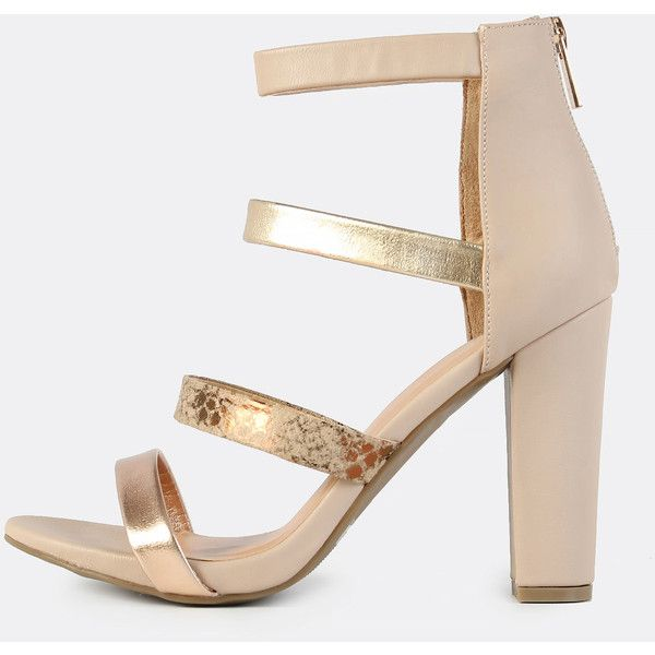 SheIn(sheinside) Multi Colored Band Heels NUDE ($30) ❤ liked on Polyvore featuring shoes, pumps, nude, nude peep-toe pumps, high heeled footwear, nude strappy shoes, multicolor pumps and peep toe pumps