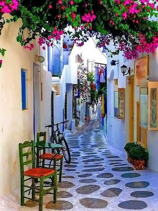 Alley in Paros island, Greece                                                                                                                                                                                 More