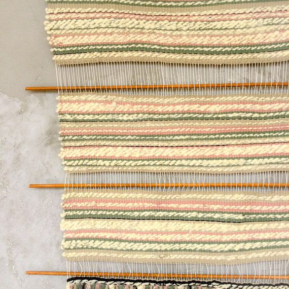 Woven wall hanging wool and cotton textile wall hanging