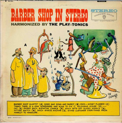 Rube Goldberg drew his own screwball version of a barbershop quartet for this record album cover in the late 1950s.