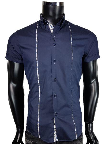 Koszula męska w kolorze granatowym - - Koszule męskie koszula krótkie rékaw - Awii, Odzież męska, Ubrania męskie, Dla mężczyzn, Sklep internetowy