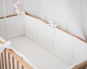 White baby nursery crib bumpers – baby bedding – crib guard – white crib bumper - literie bébé