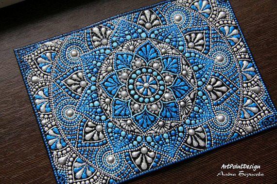 Passport cover blue mandala dot art gift for her 2 colors