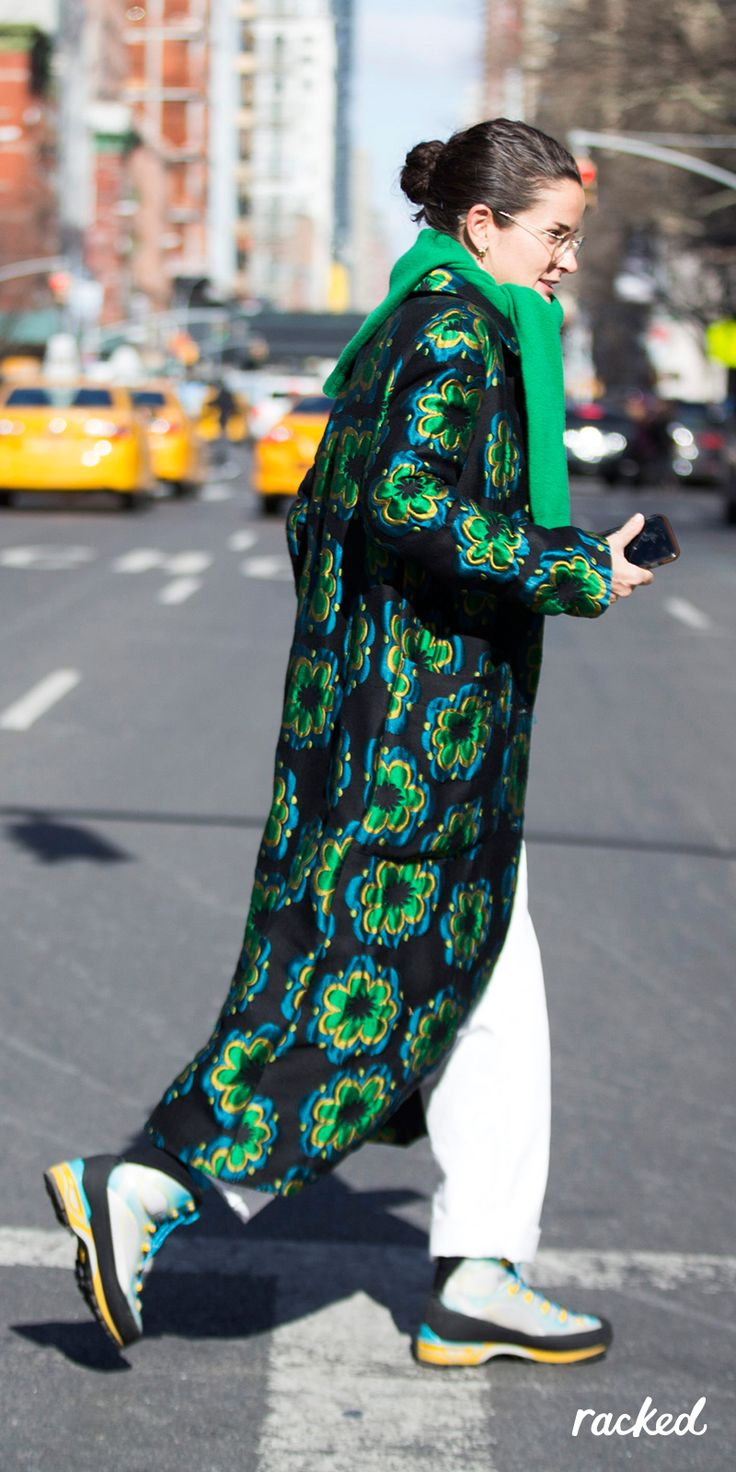 A Bold Green Coat And Boots Look At New York Fashion Week More Winter