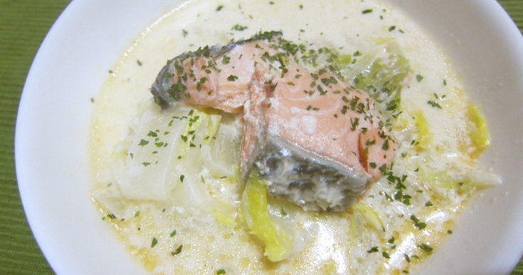お鍋ひとつでとっても簡単! ☆2度目の話題入り感謝☆ 厳選!スープレシピ本掲載☆ 鮭とミルクのコクで白菜もおいしい~♪